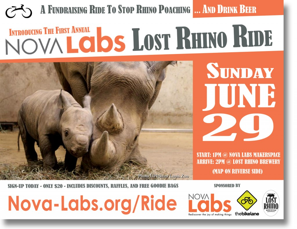 Bike Ride to Stop Rhino Poaching: Nova Labs Lost Rhino Fundraiser this Sunday June 29th