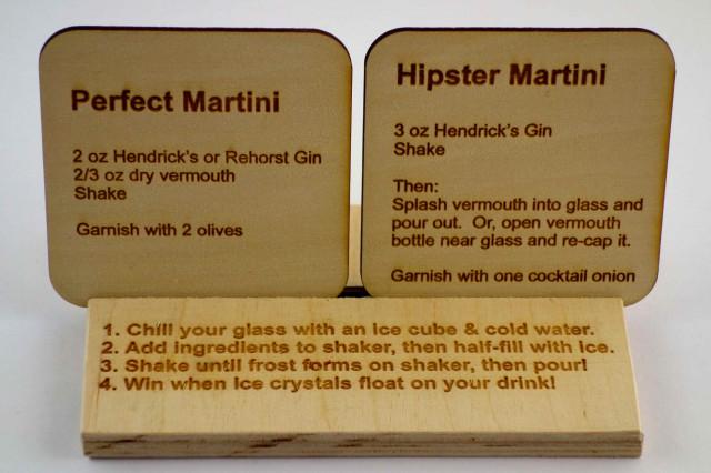 Laser Cut Cocktail Recipe Coasters!