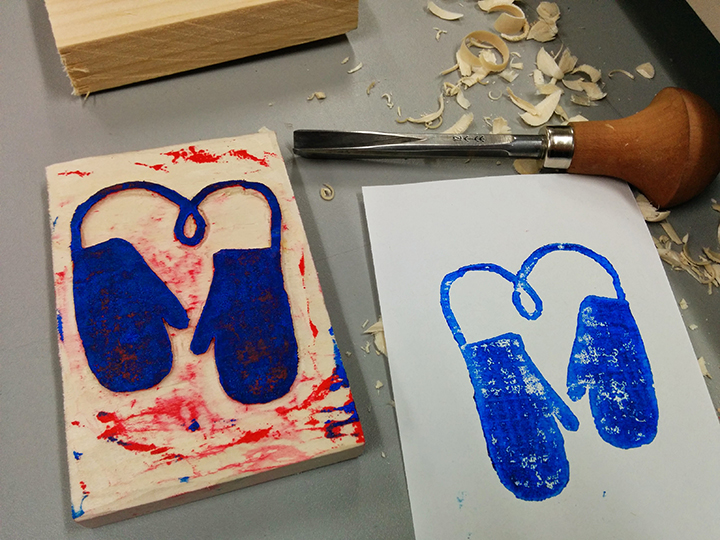 WORKSHOP: Woodblock Printing Valentines Cards, Thurs. Feb 12. 7-10 pm